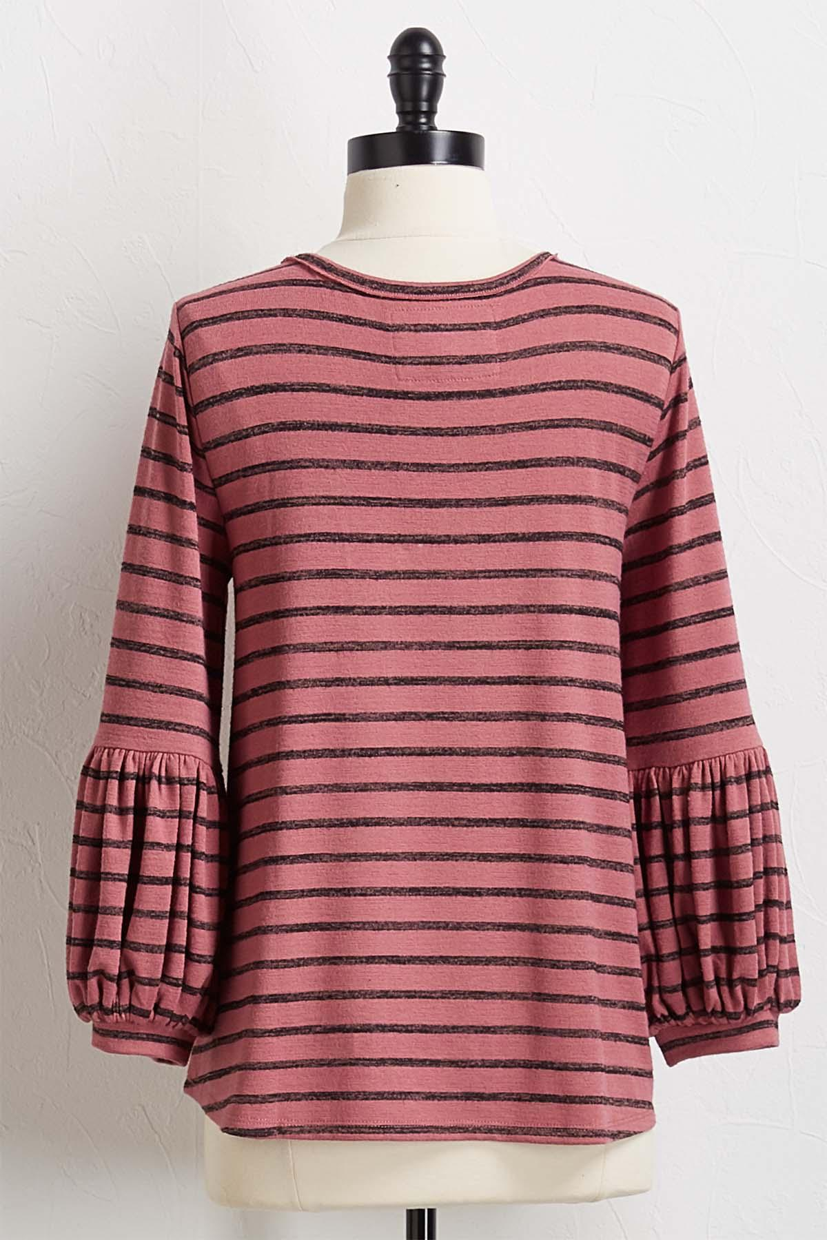 Striped Balloon Sleeve Hacci Top