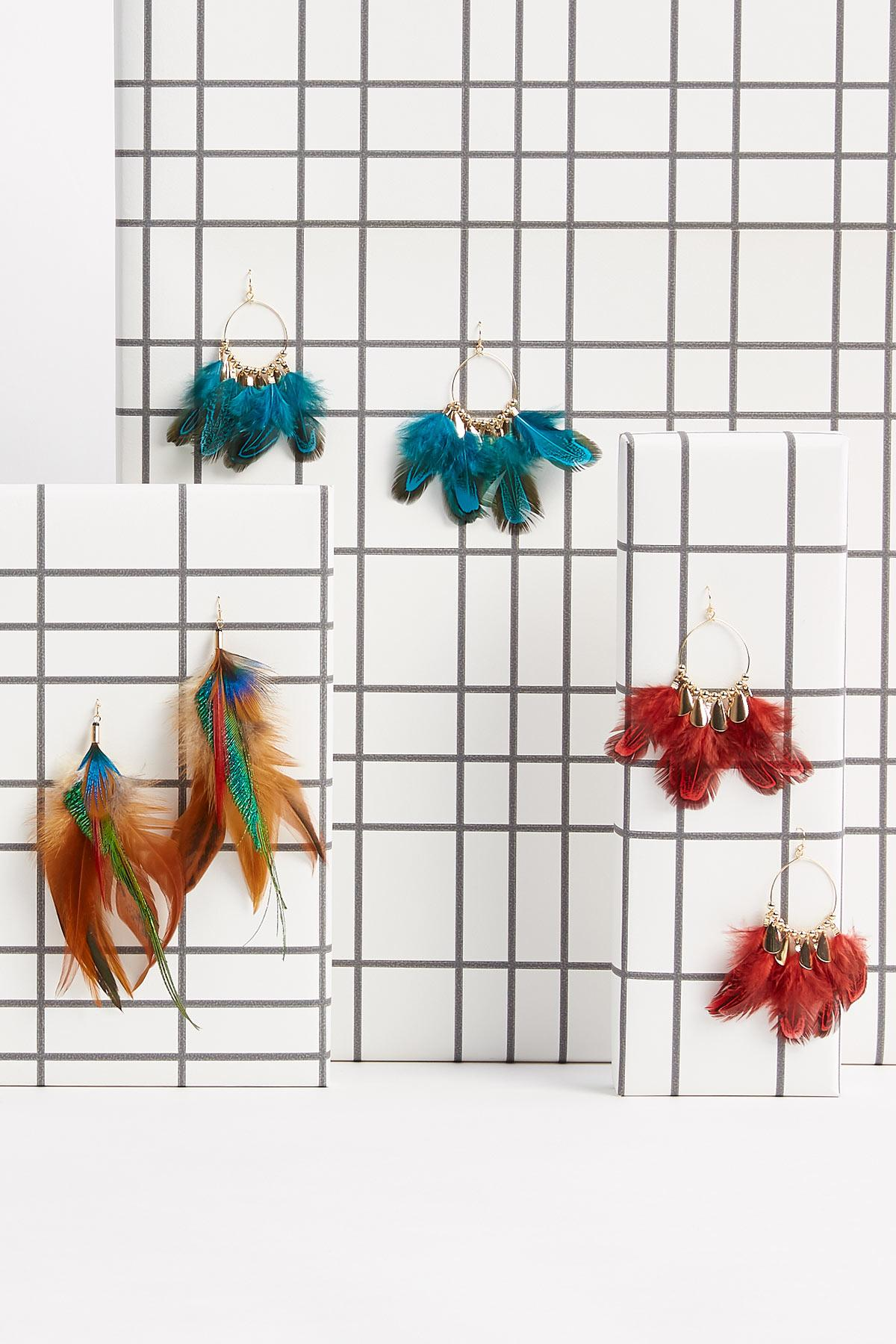Gold Feather Dangle Earrings