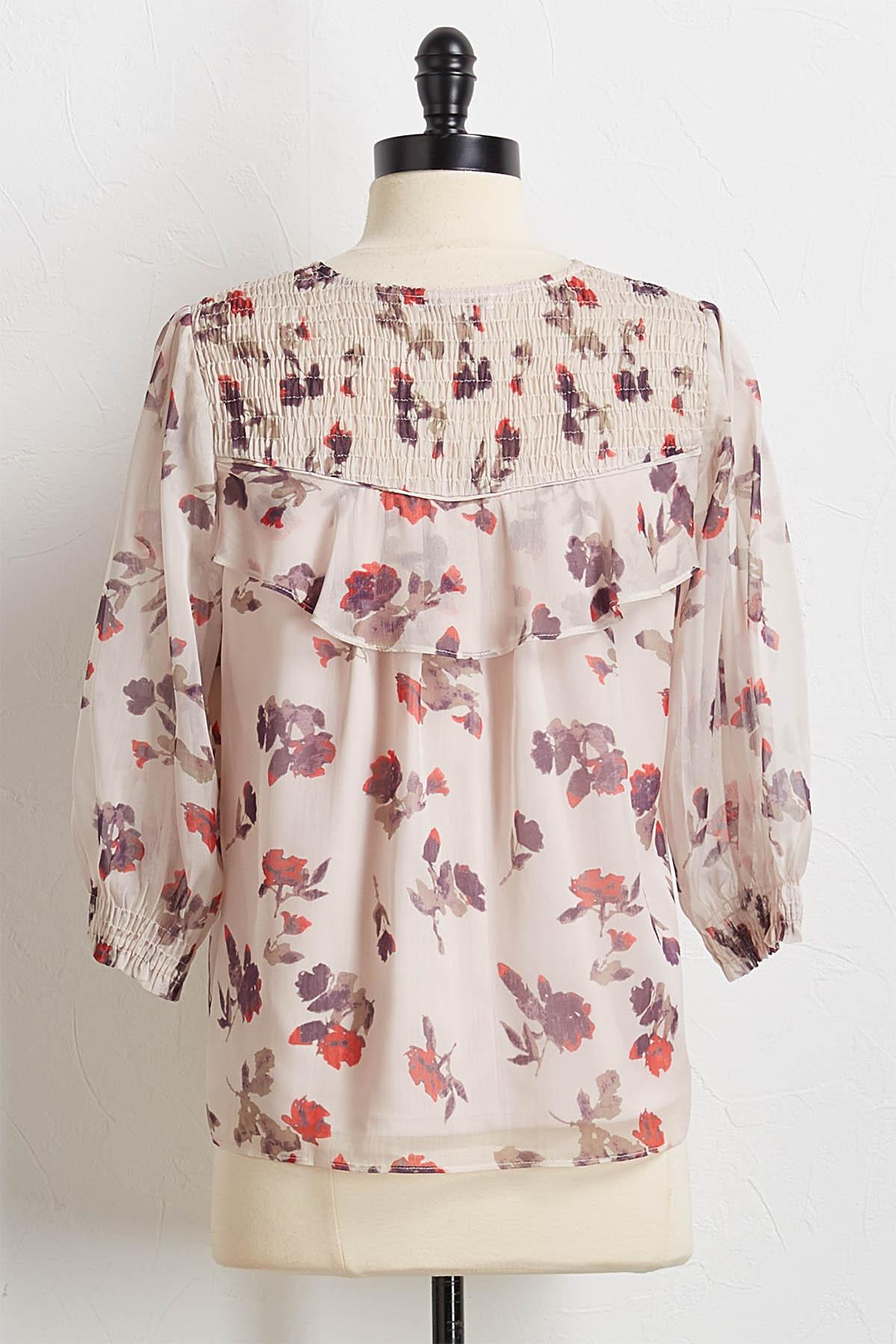 Smocked Earth Floral Top