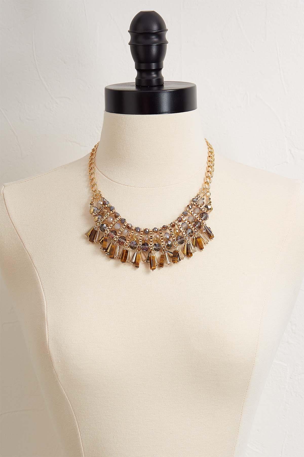 Semi- Precious Beaded Bib Necklace