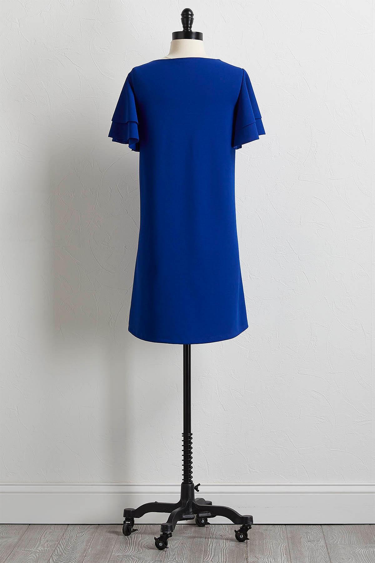 Tiered Flutter Sleeve Shift Dress