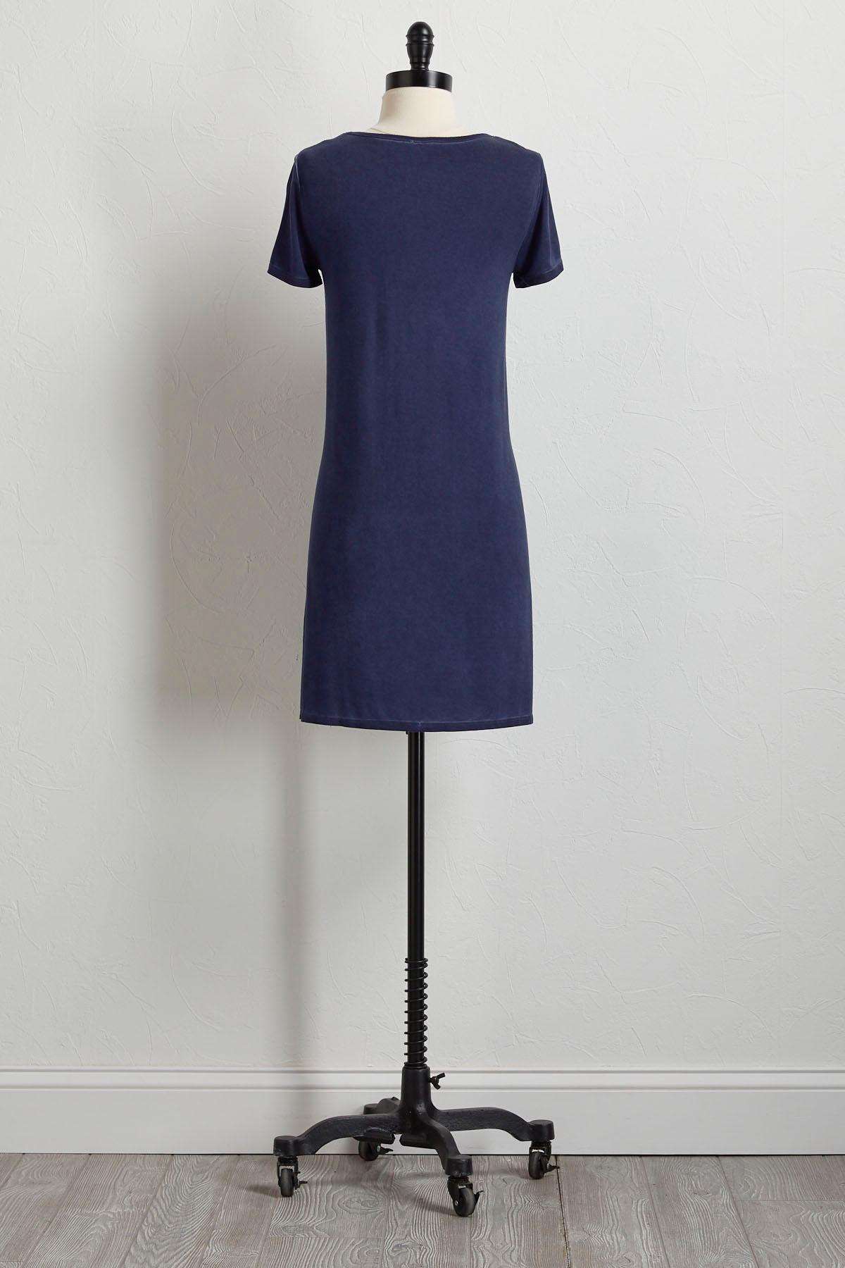Navy Faded Wash T- Shirt Dress