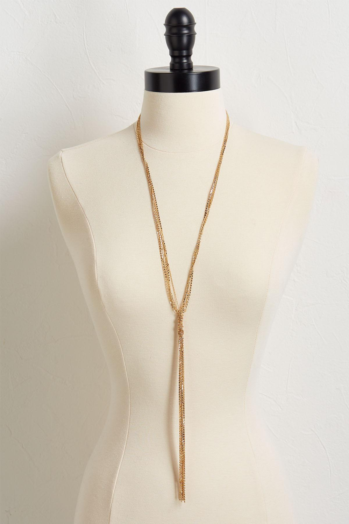 Tasseled Metal Chain Y- Necklace
