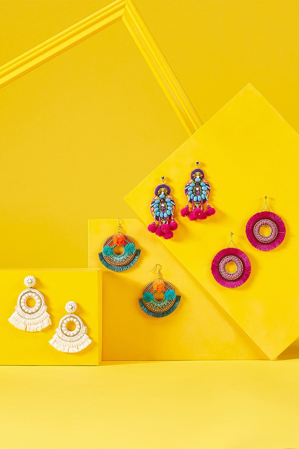 Pom- Pom Fringe Earrings