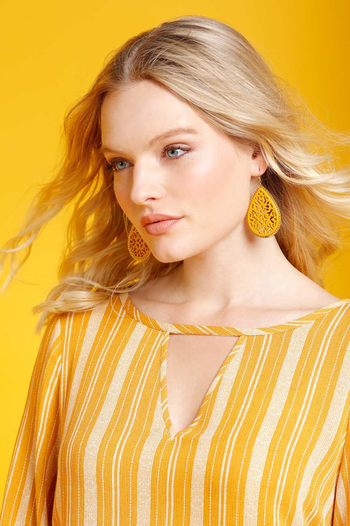 Floral Enamel Cutout Earrings