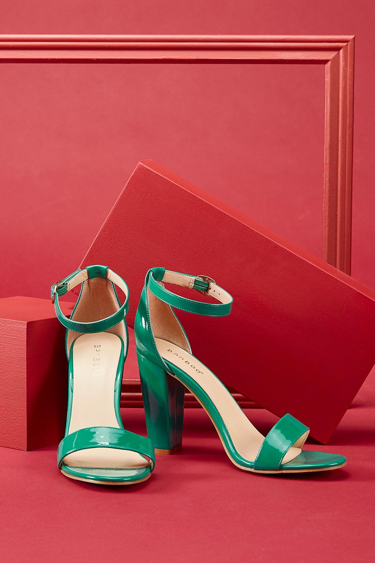 Patent Block Heel Sandals
