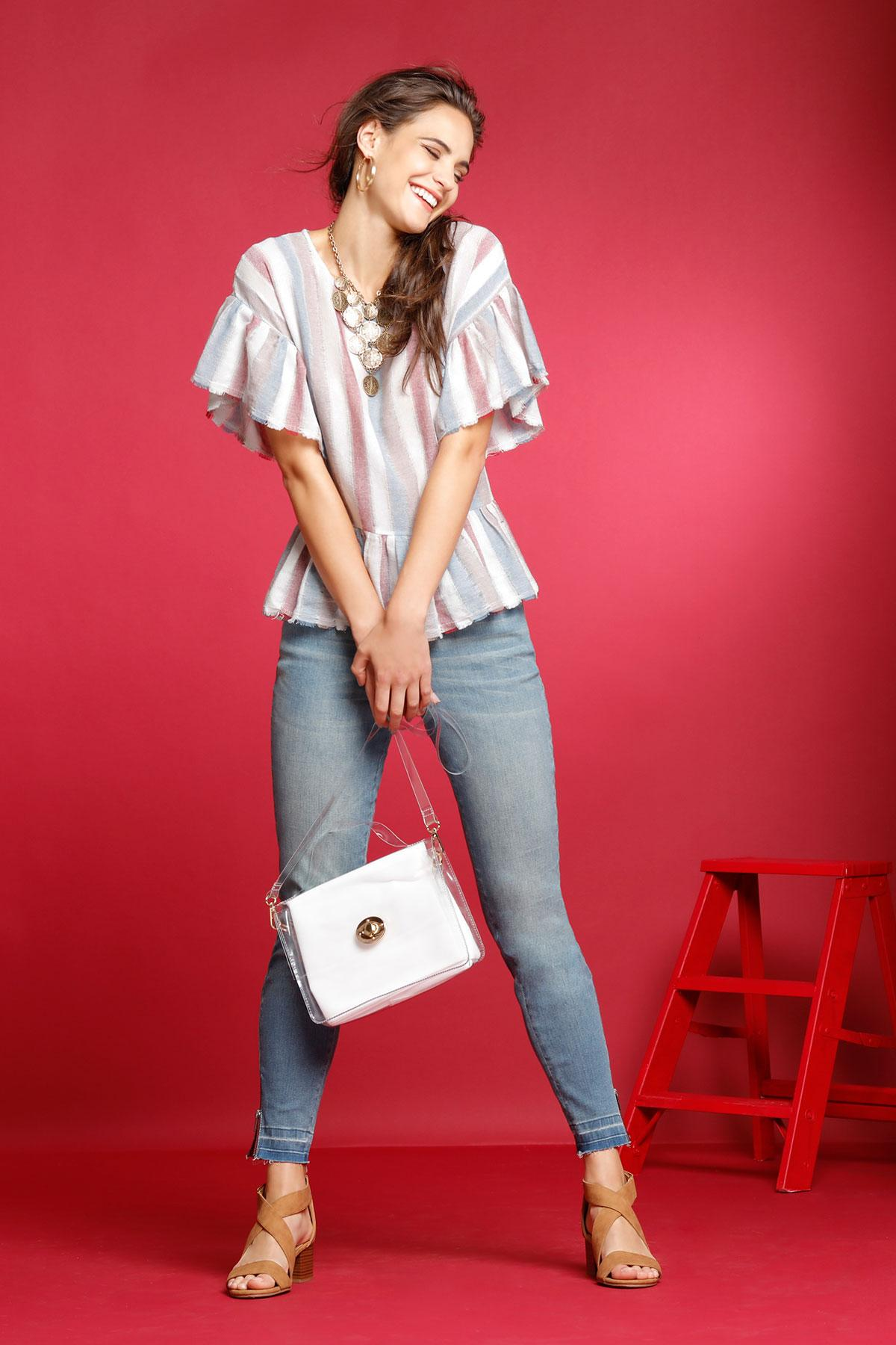 Frayed And Flounced Stripe Top