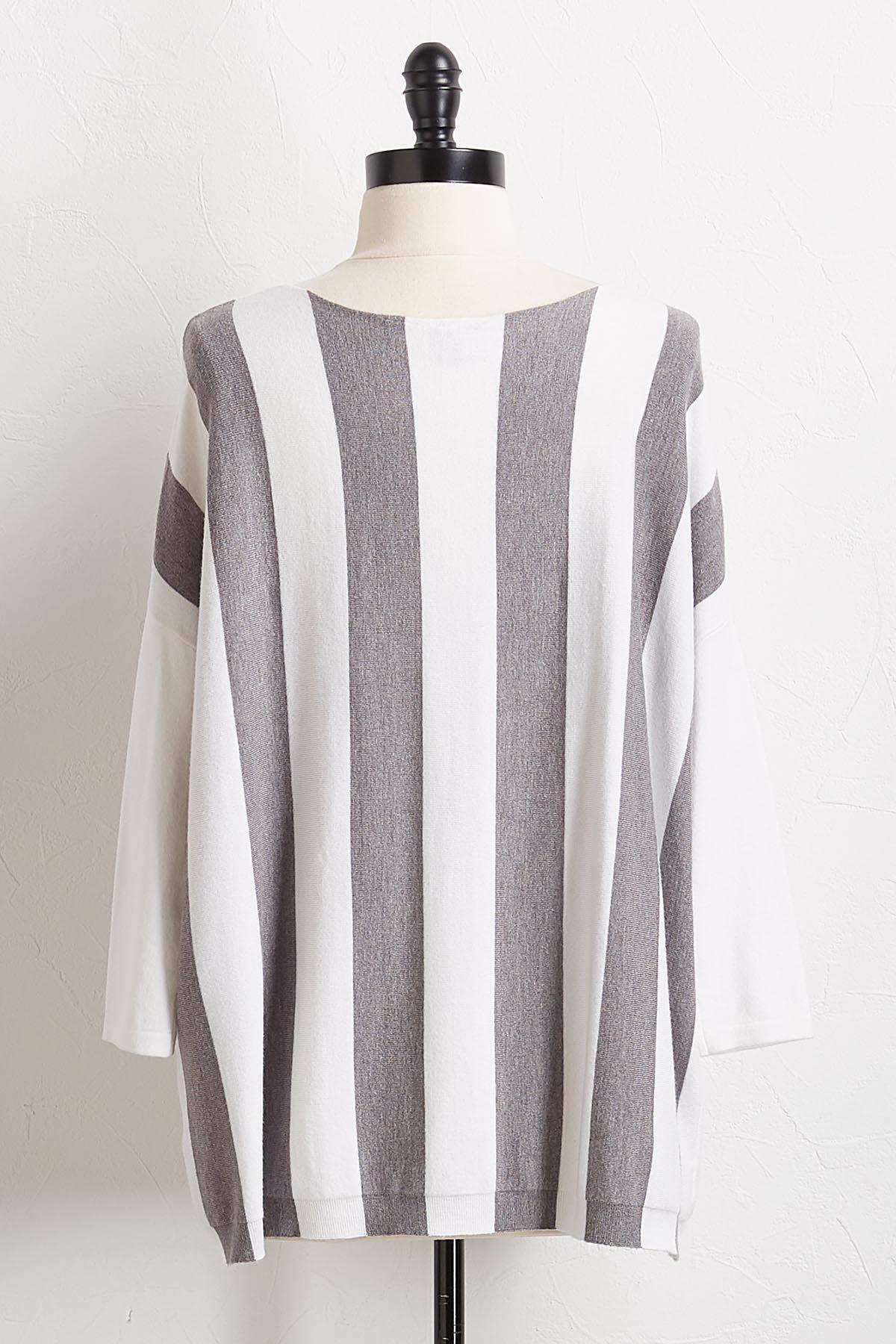 Gray Stripe Pullover Sweater