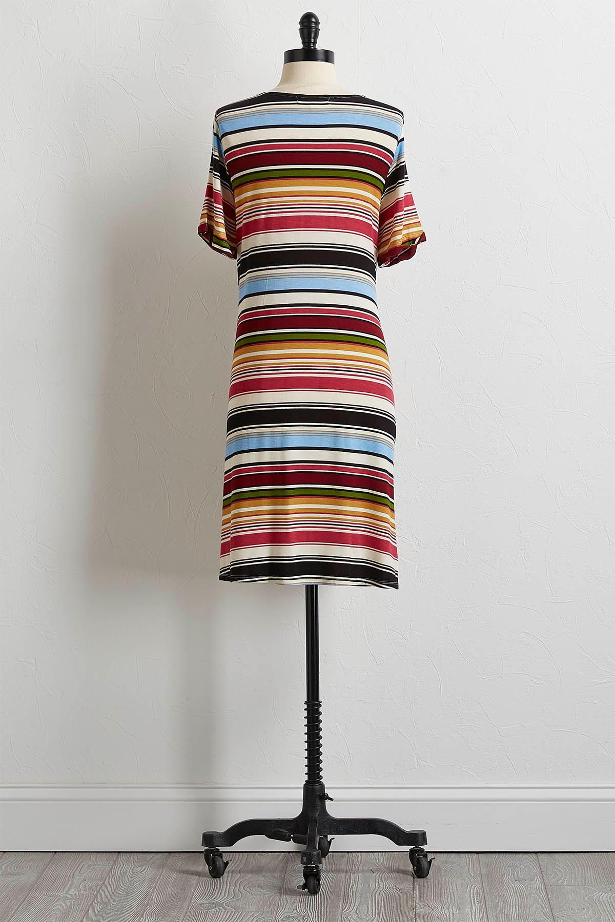 Multi Stripe Tee Shirt Dress