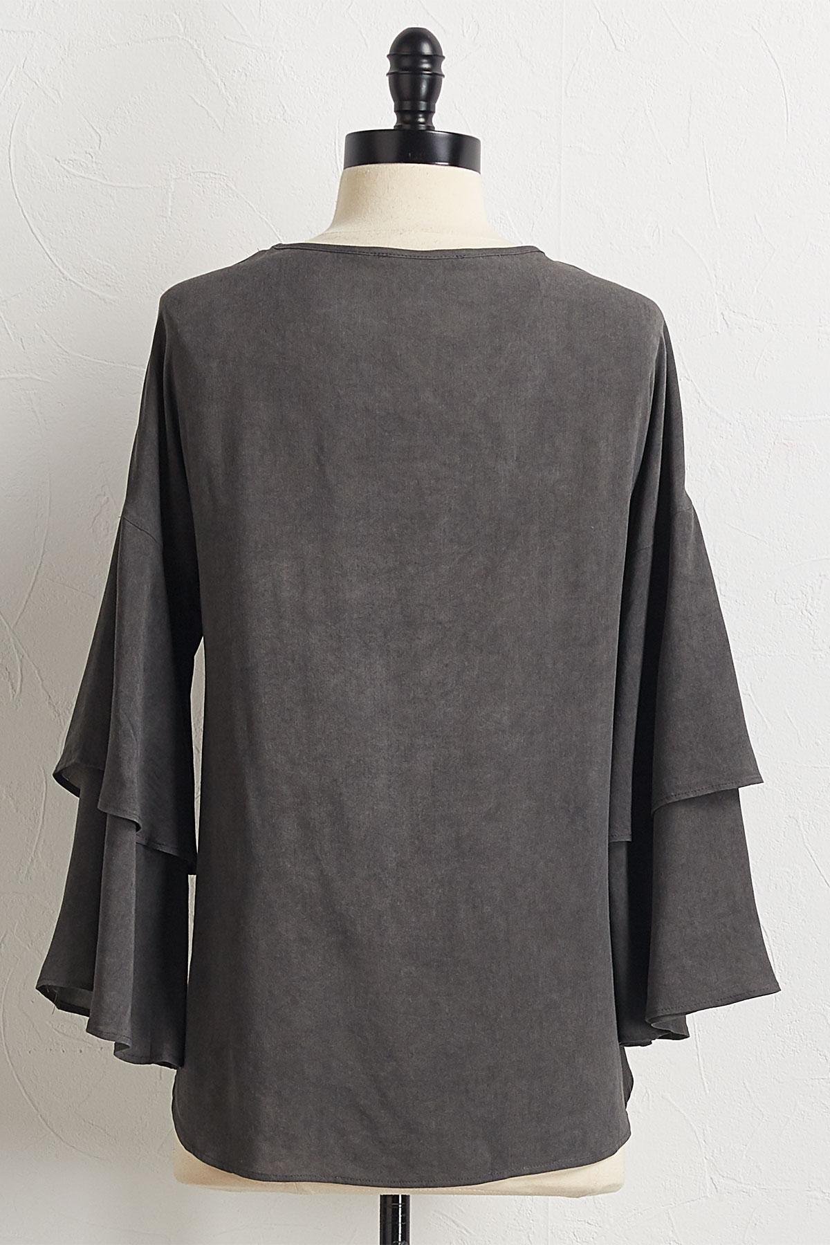 Mineral Wash Tiered Sleeve Top