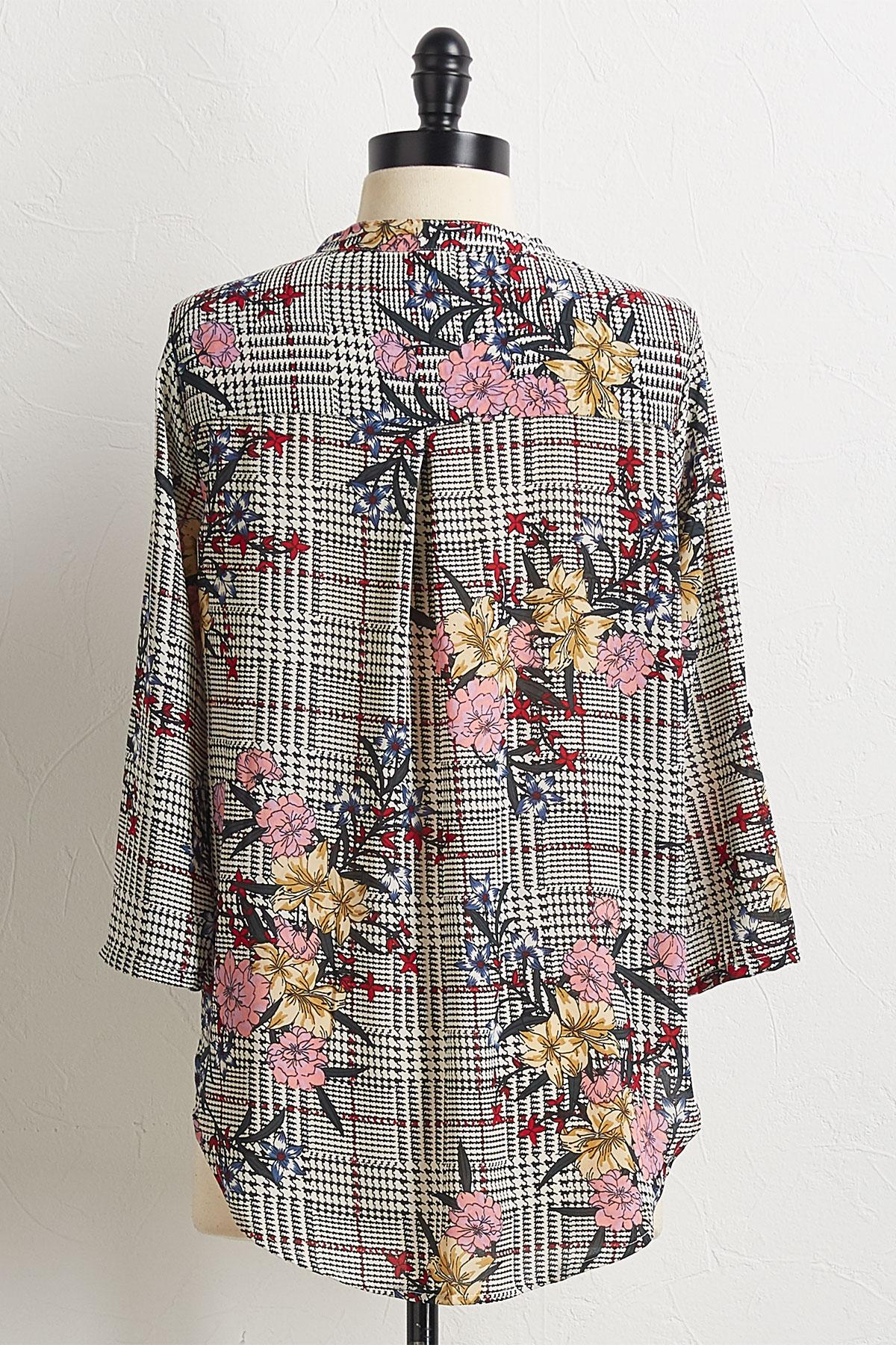 Houndstooth Floral Top