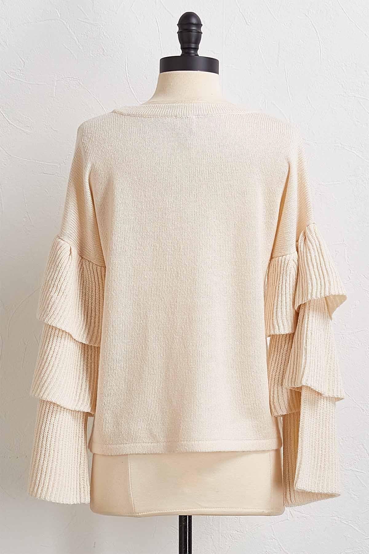 Tiered Ruffle Sleeve Sweater