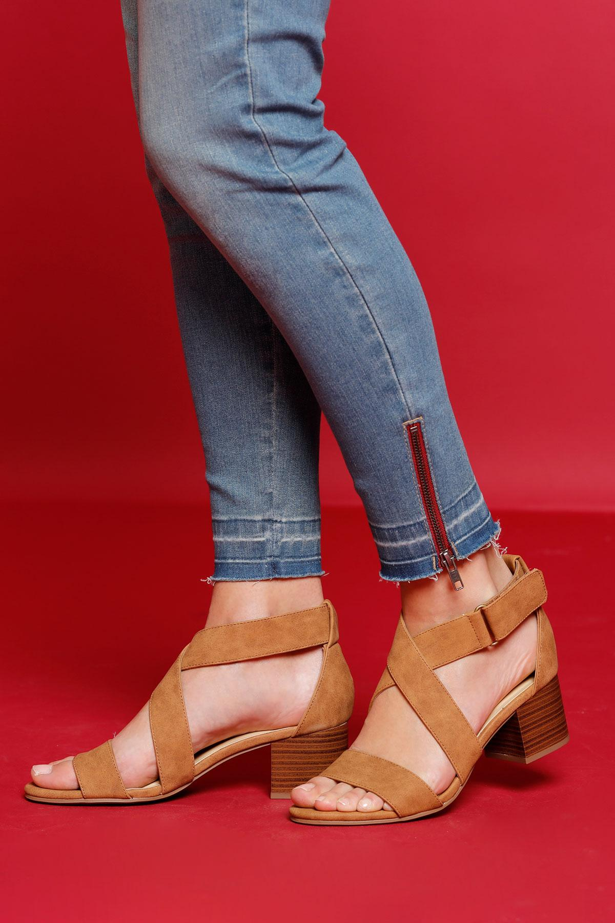 Cross Strap Heeled Sandals
