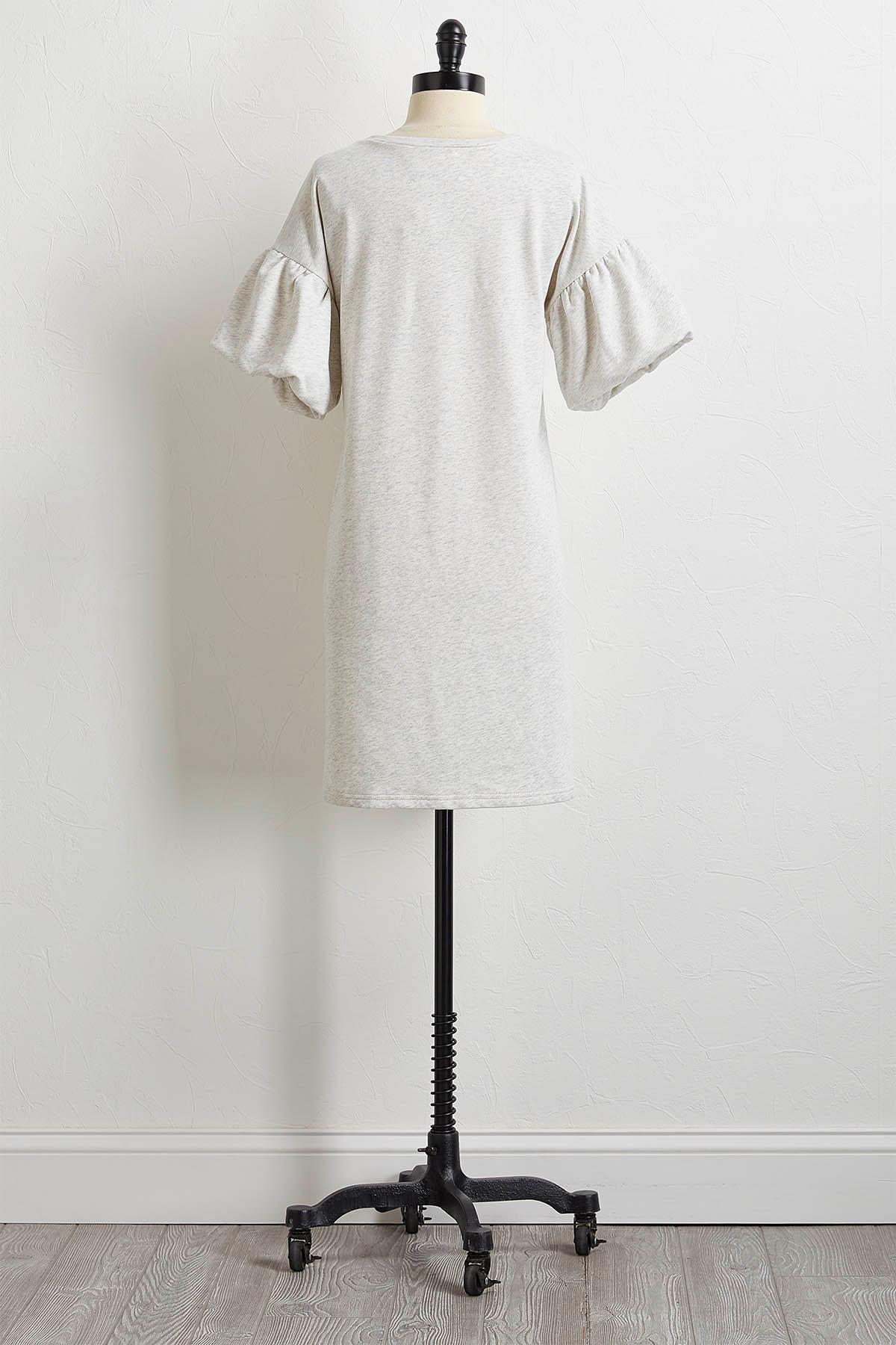 Puff Sleeve French Terry Dress