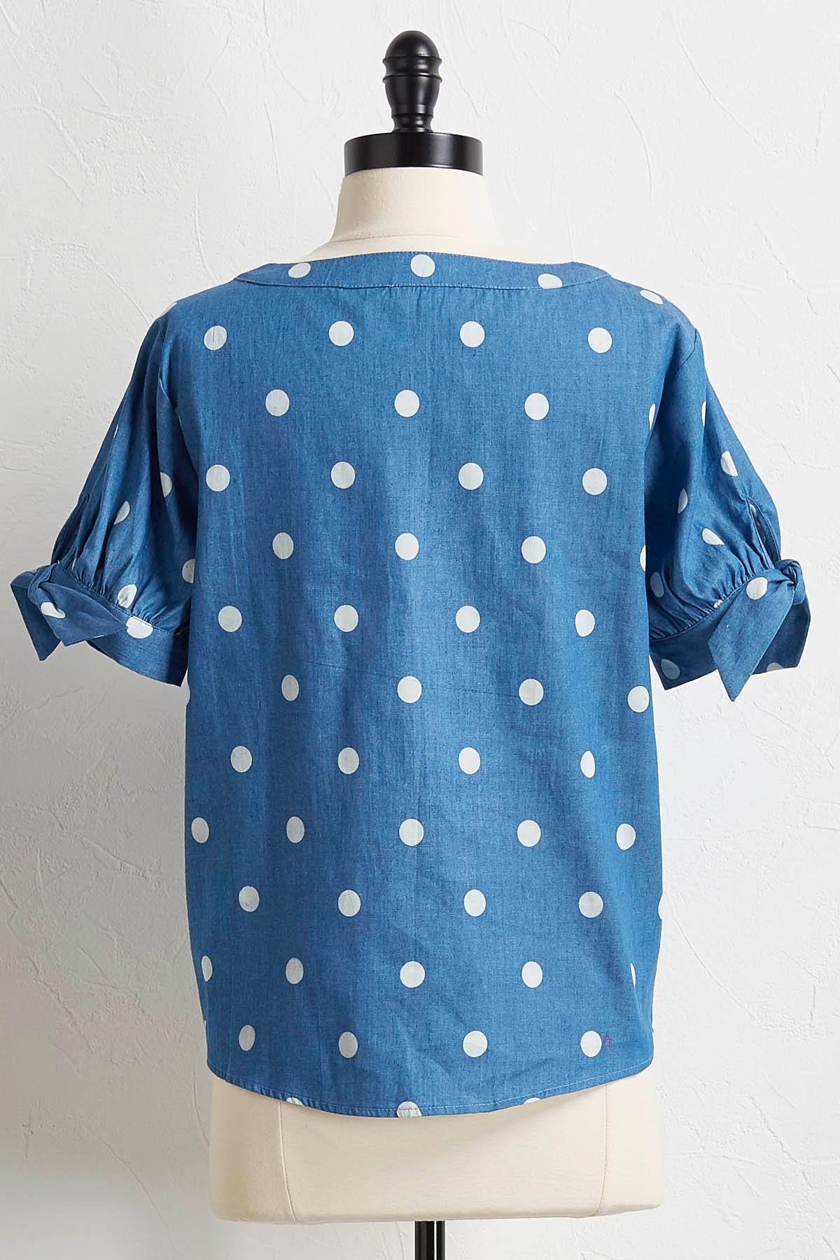 Polka Dot Tie Sleeve Top
