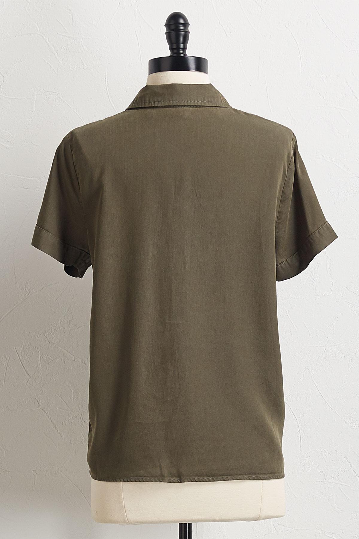 Button Down Tie Hem Shirt