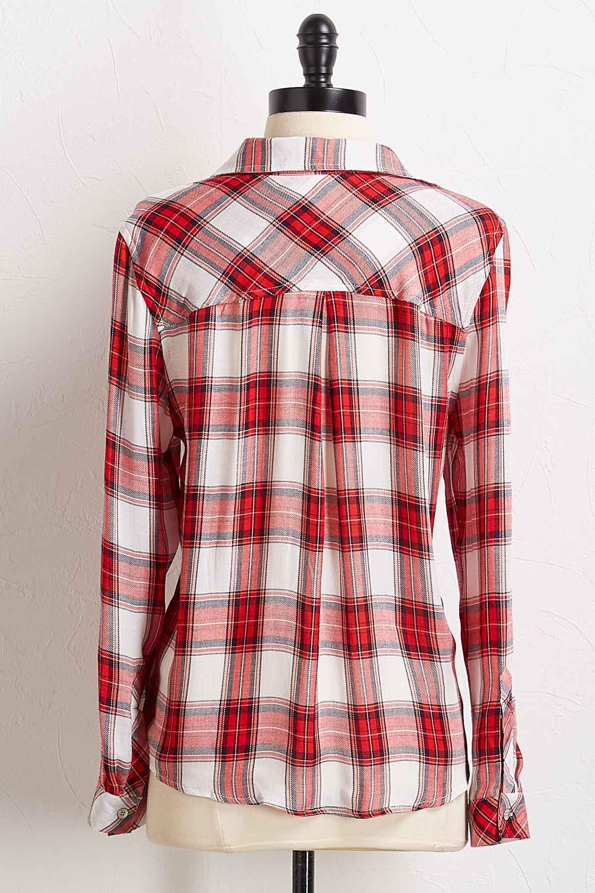 Plaid Tie Front Shirt