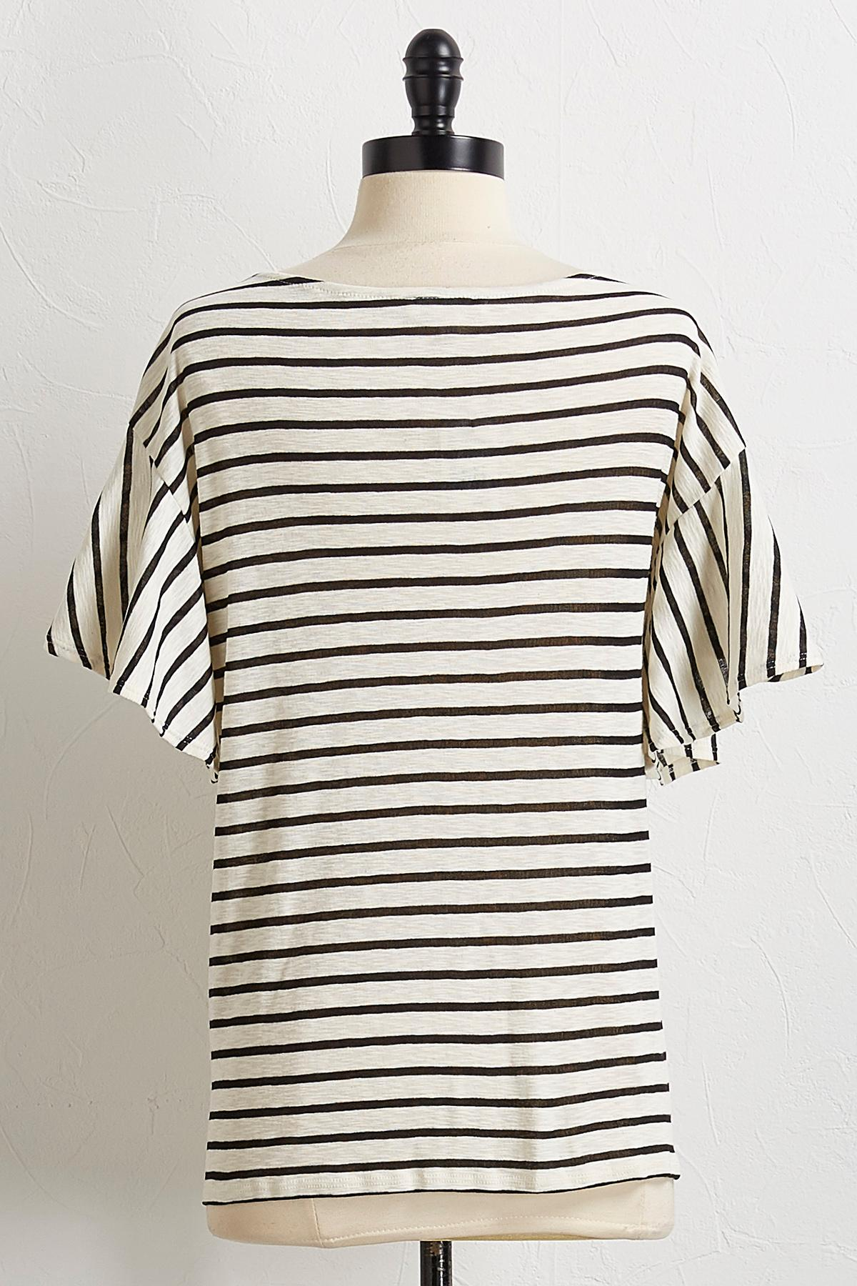 Striped Button Sleeve Top