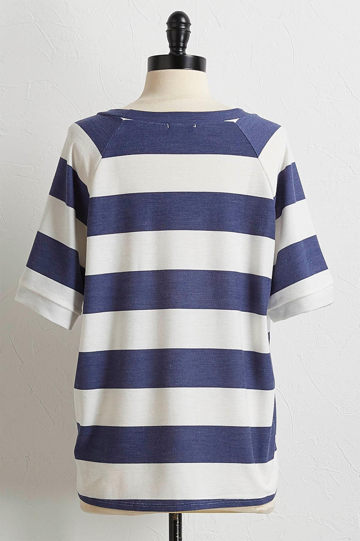 Wide Stripe Knotted Top