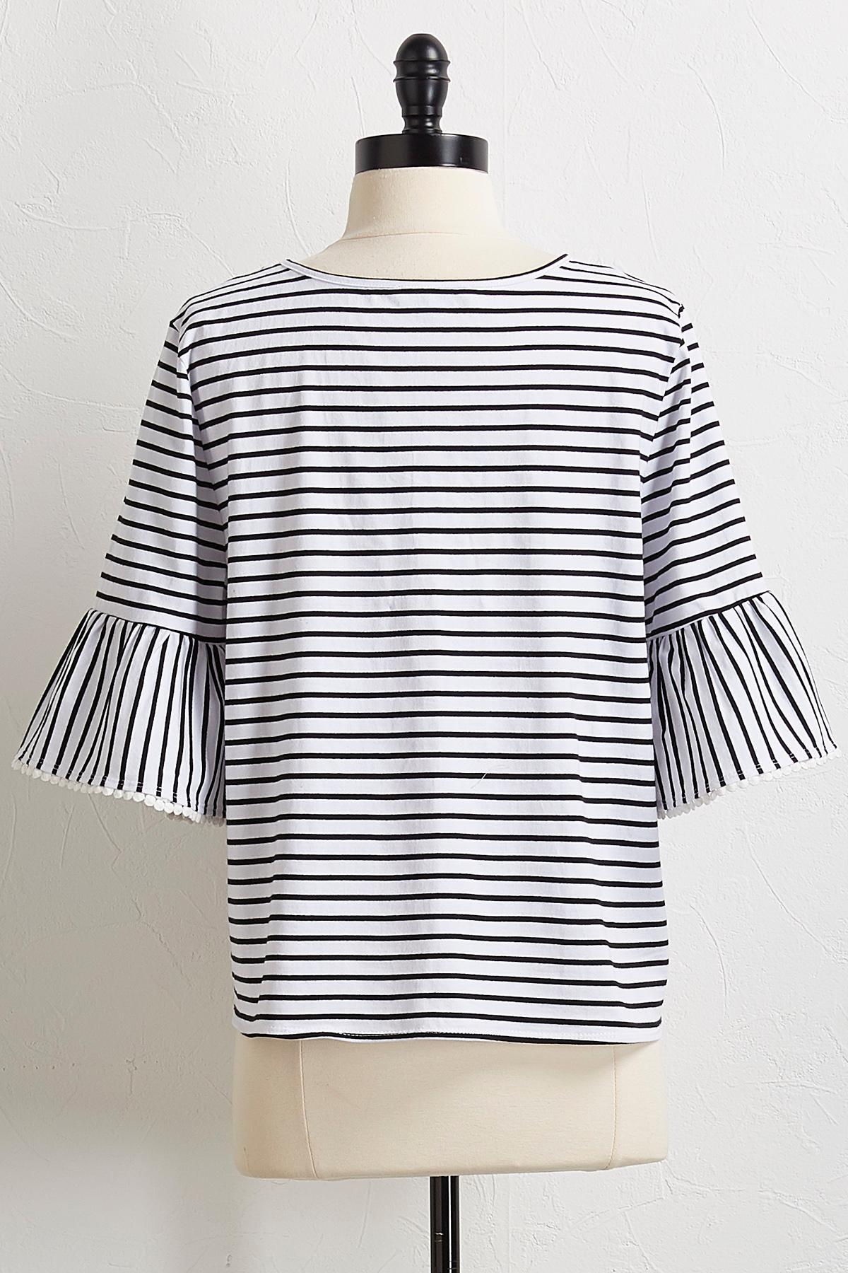 Striped Crochet Trim Top