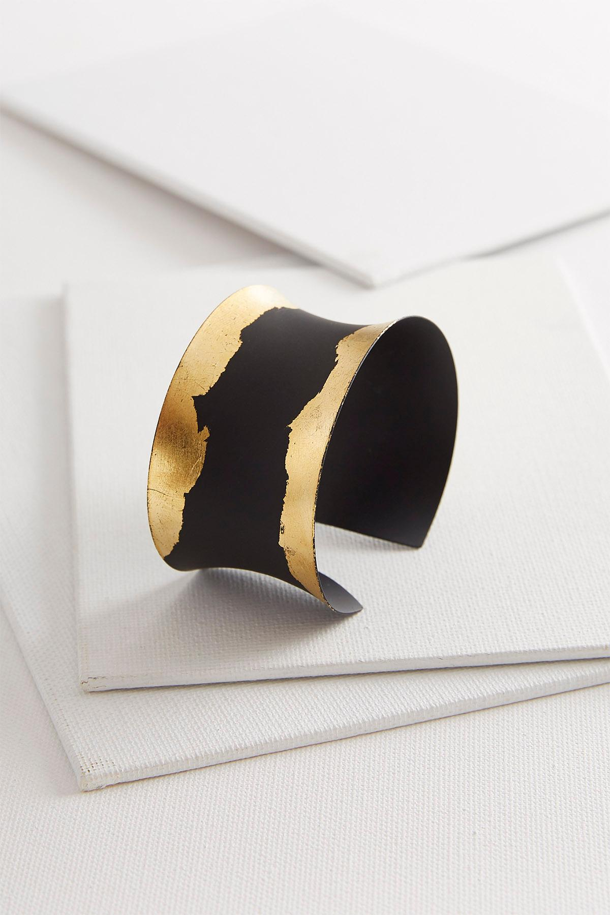 Black And Gold Metal Cuff