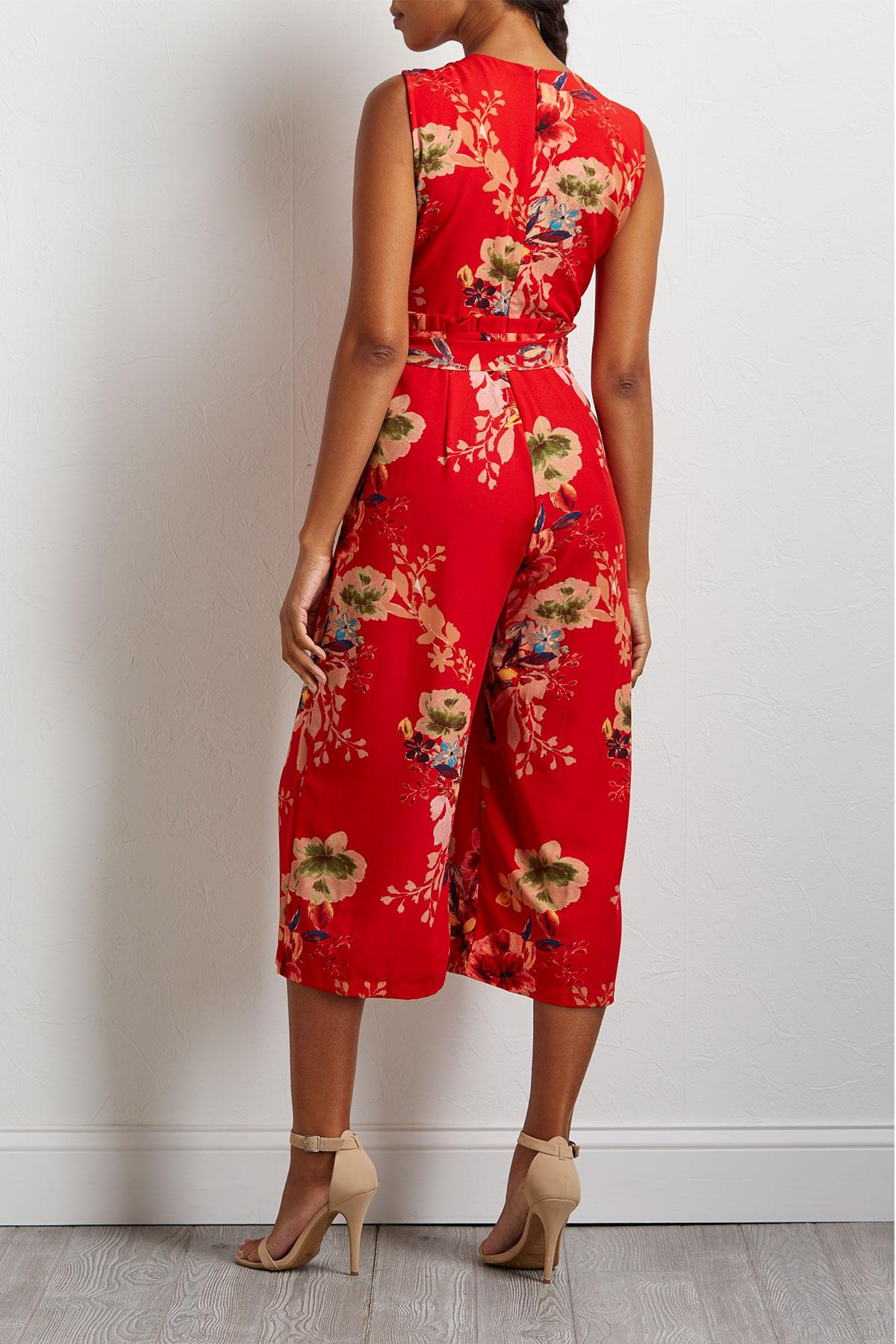 Cropped Red Floral Jumpsuit