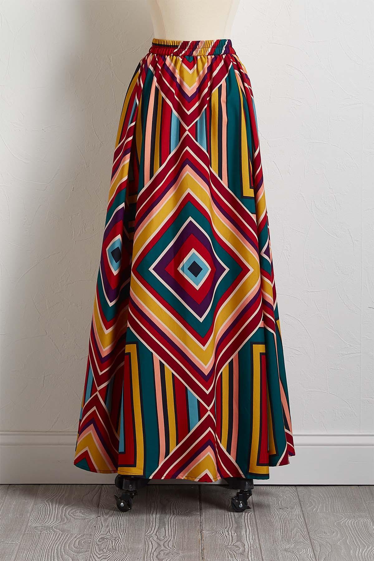 Mixed Stripe Maxi Skirt
