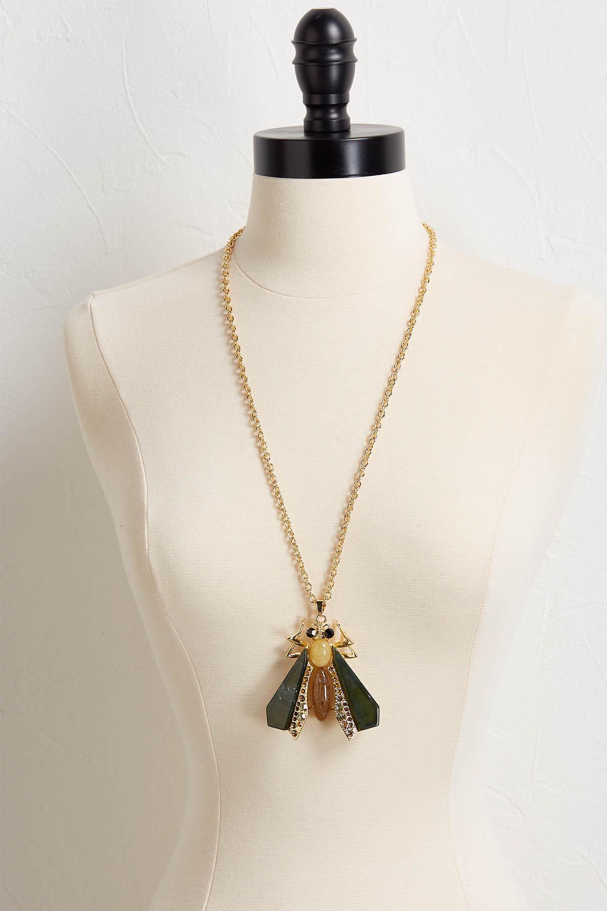 Winged Bug Pendant Necklace