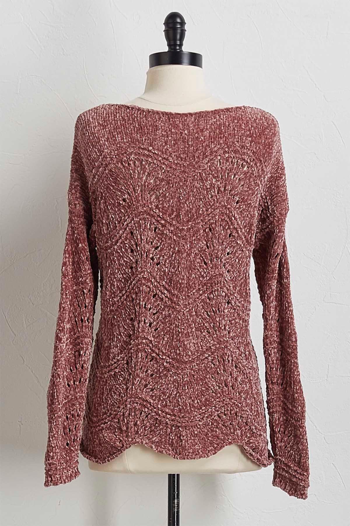 Scalloped Chenille Sweater