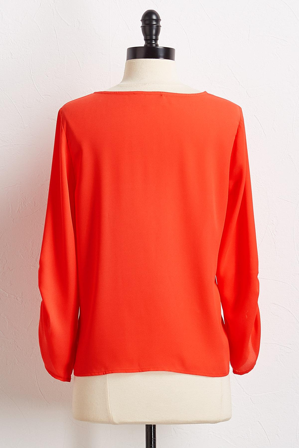 Solid Cinched Sleeve Top