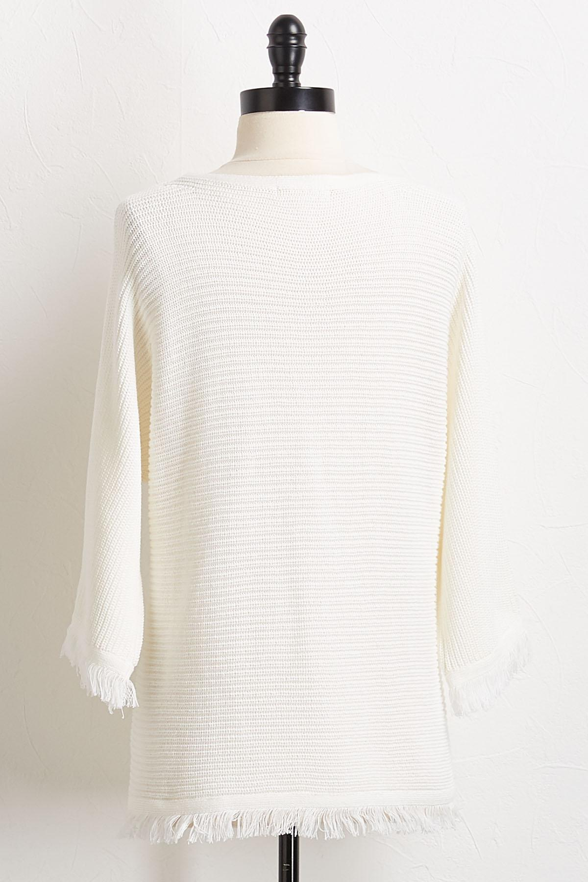 Ivory Fringe Trim Sweater