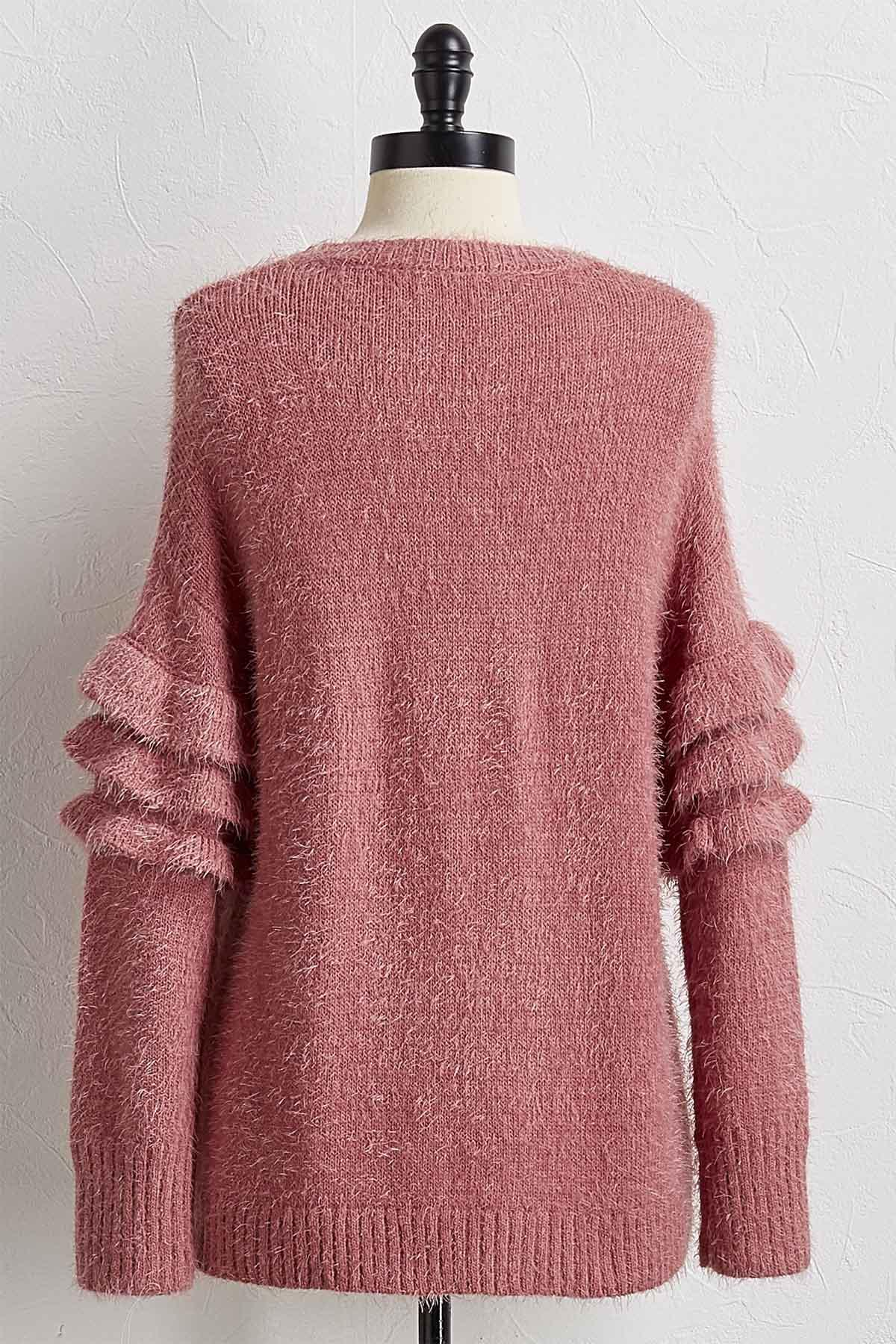 Ruffled Sleeve Eyelash Sweater