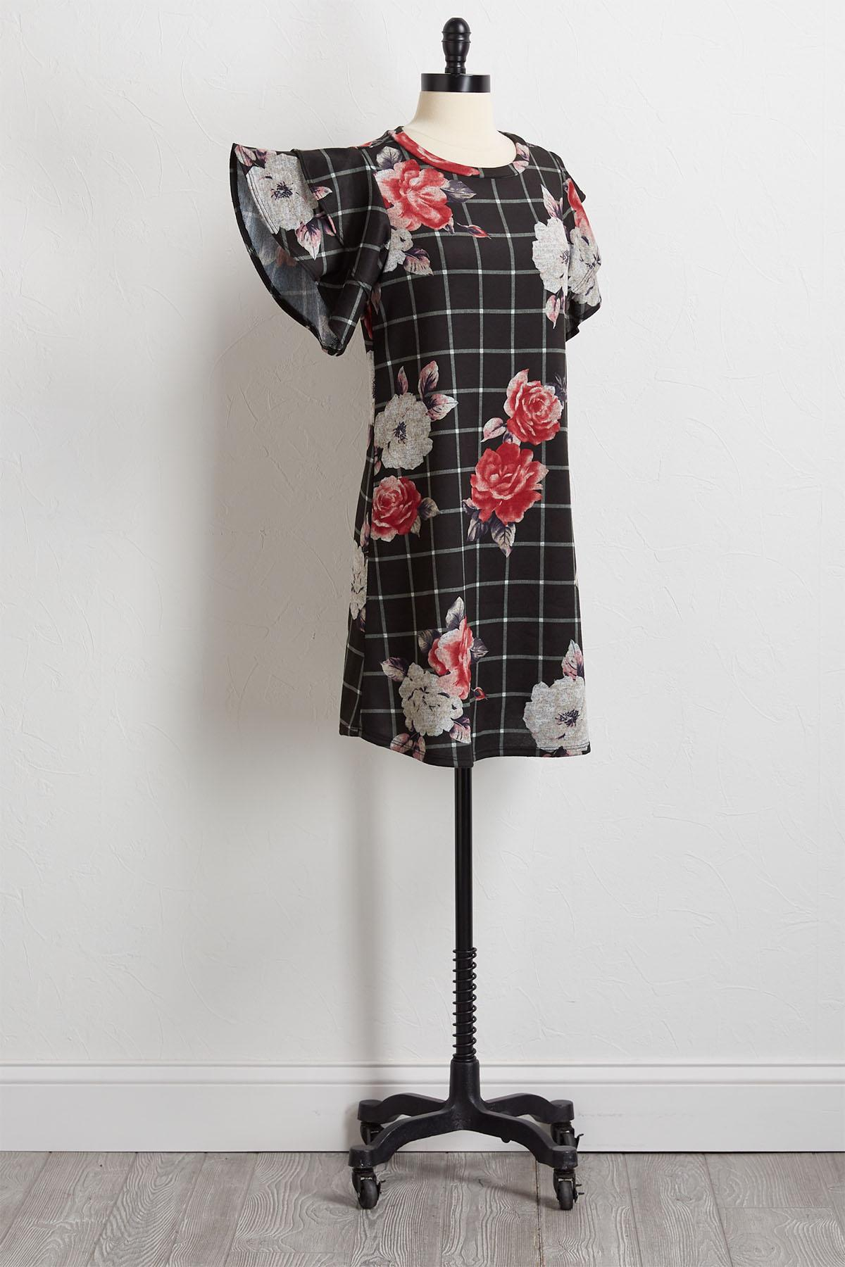 Floral Check Hacci Shift Dress
