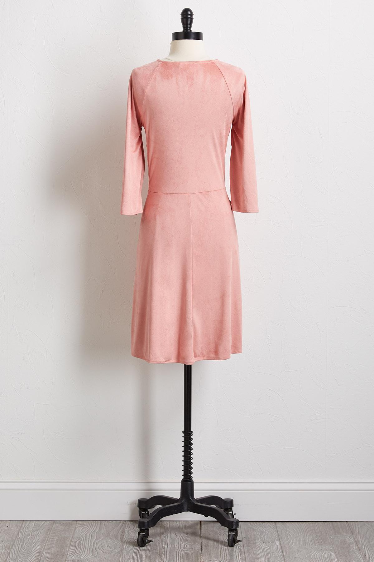 Faux Suede Tie Front Dress