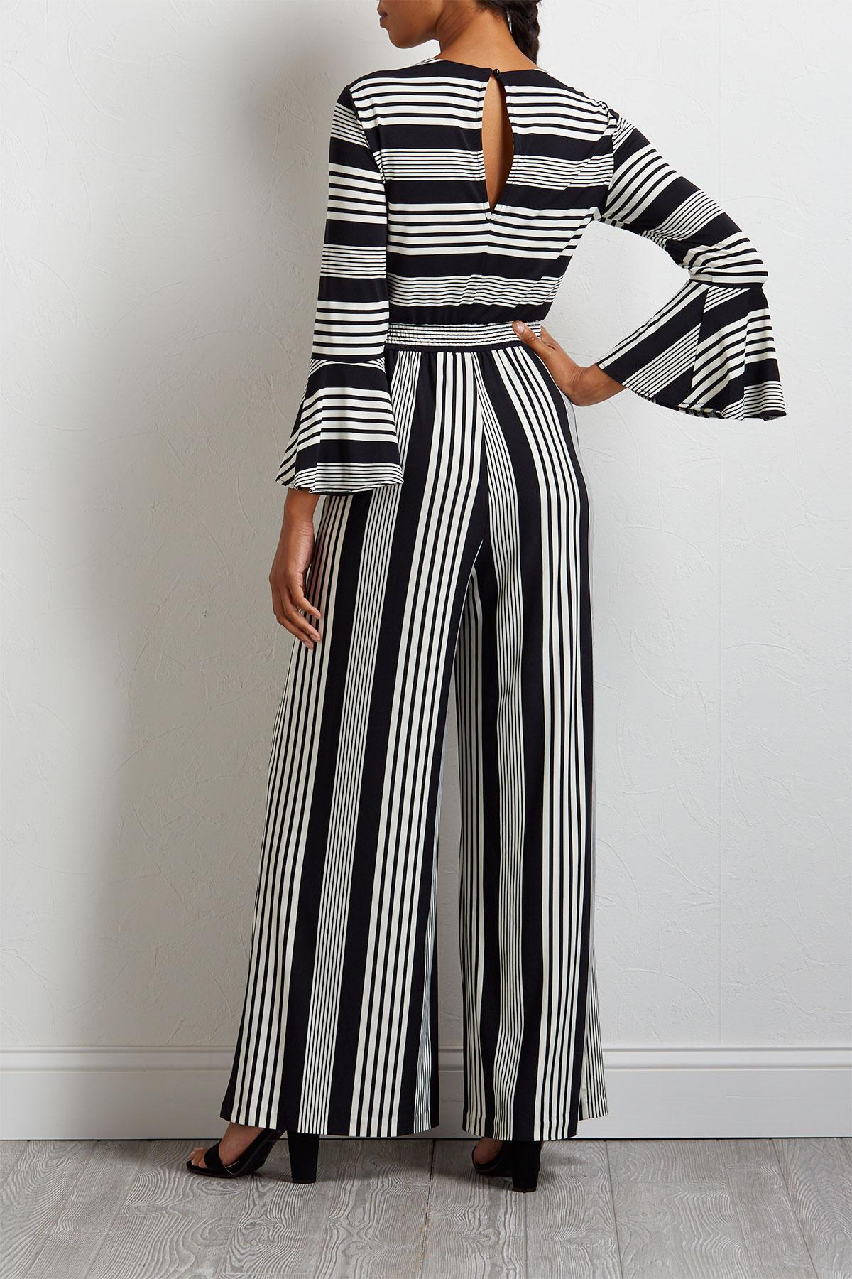 Striped Bell Sleeve Jumpsuit