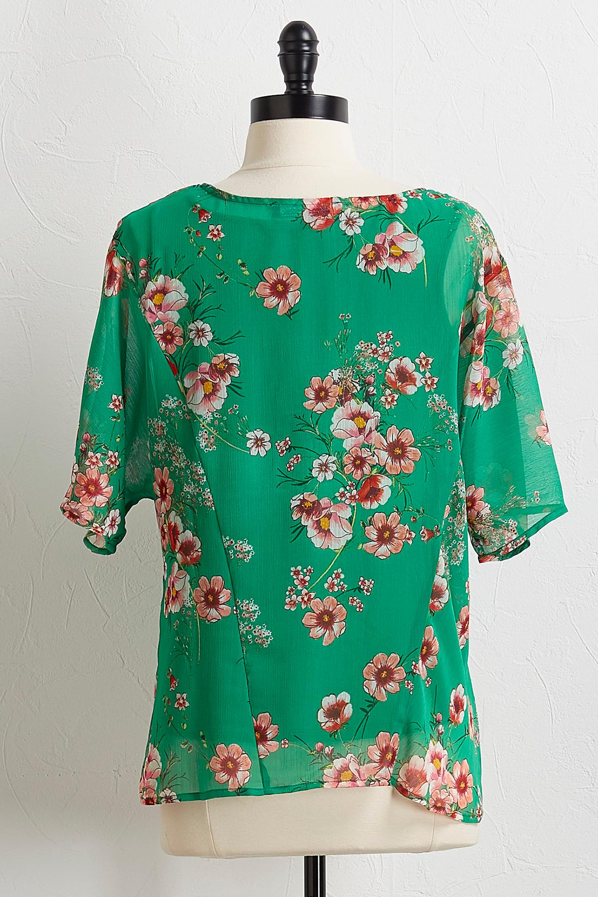 Knotted Green Floral Top