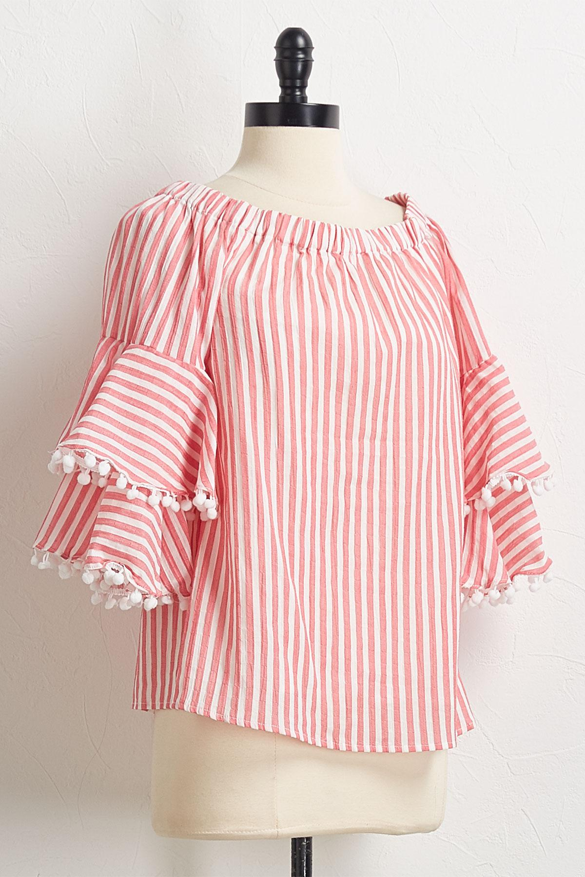 Striped Pom- Pom Sleeve Top