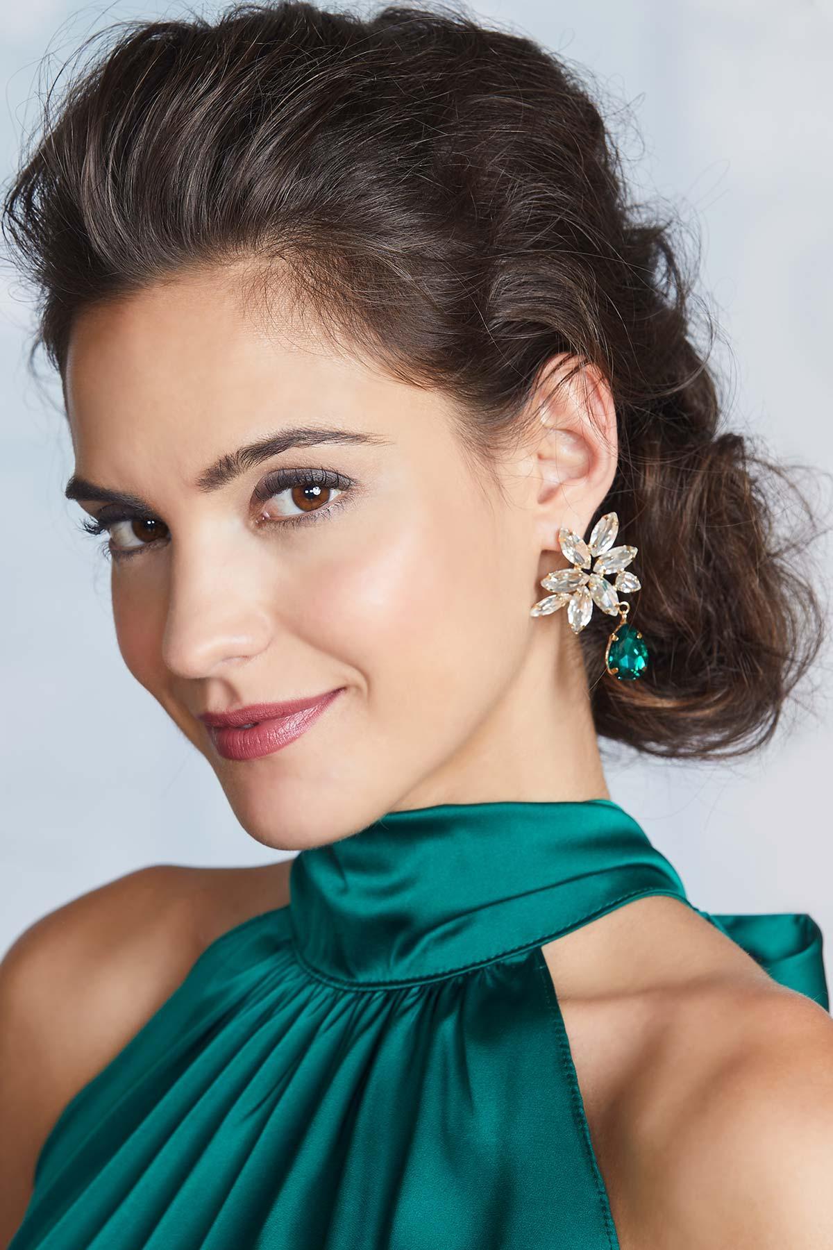 Dangle Glass Floral Earrings