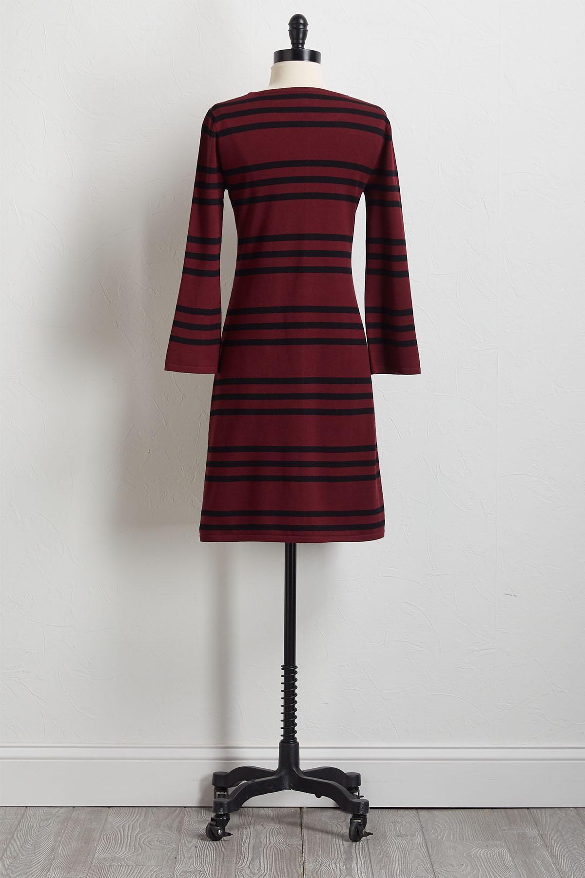 Mitered Stripe Sweater Dress