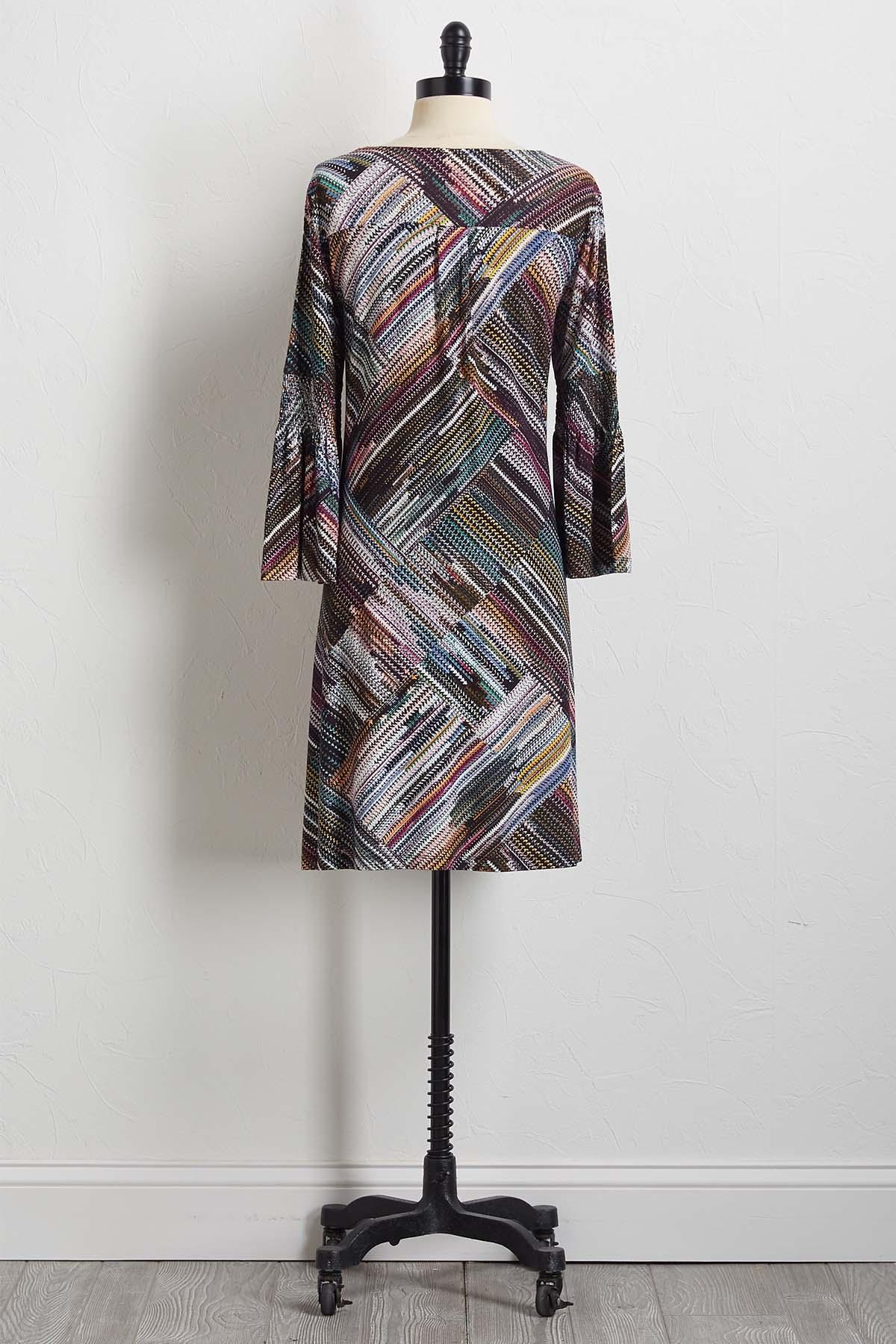 Multi Smocked Sleeve Shift Dress