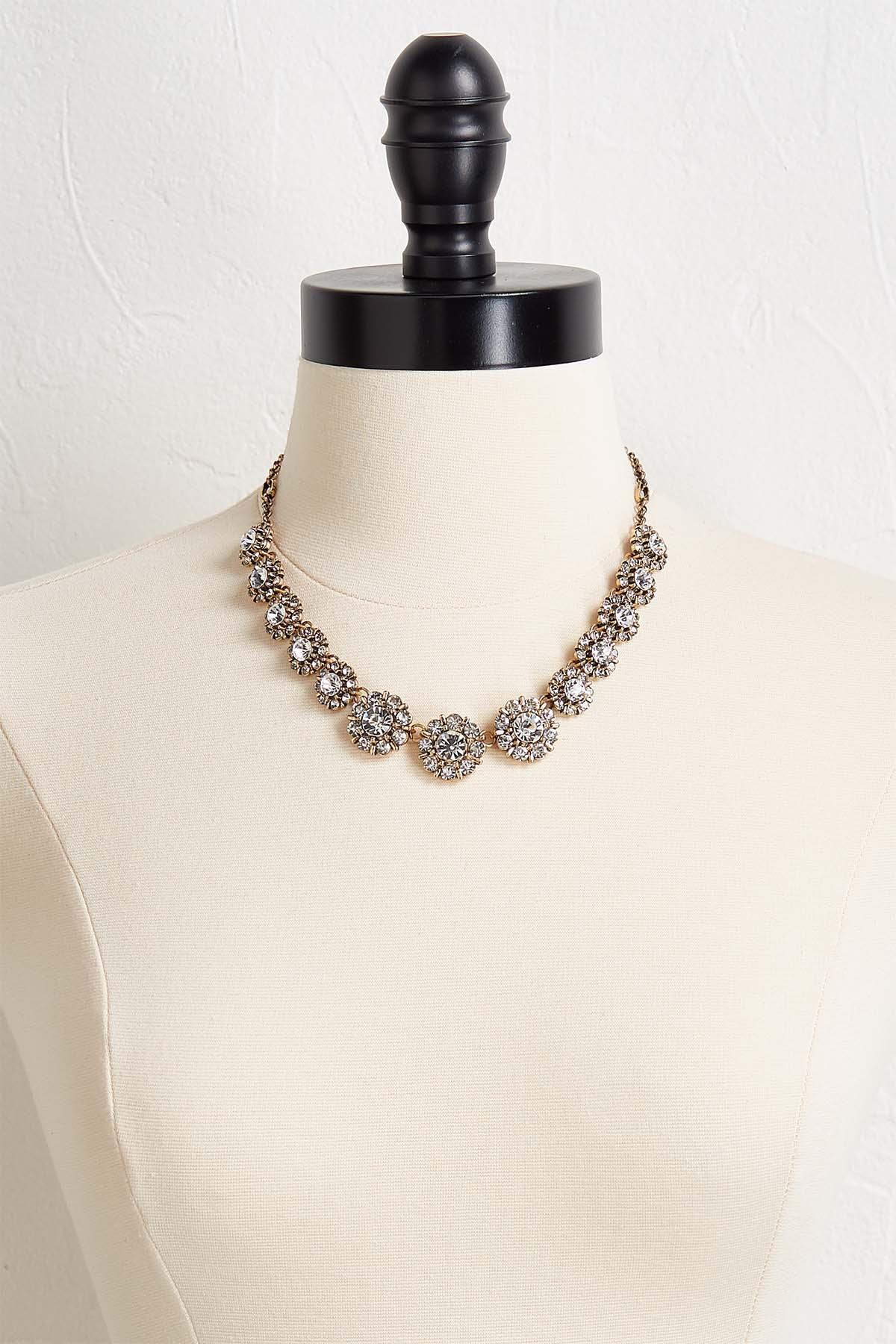Antique Rhinestone Flower Necklace