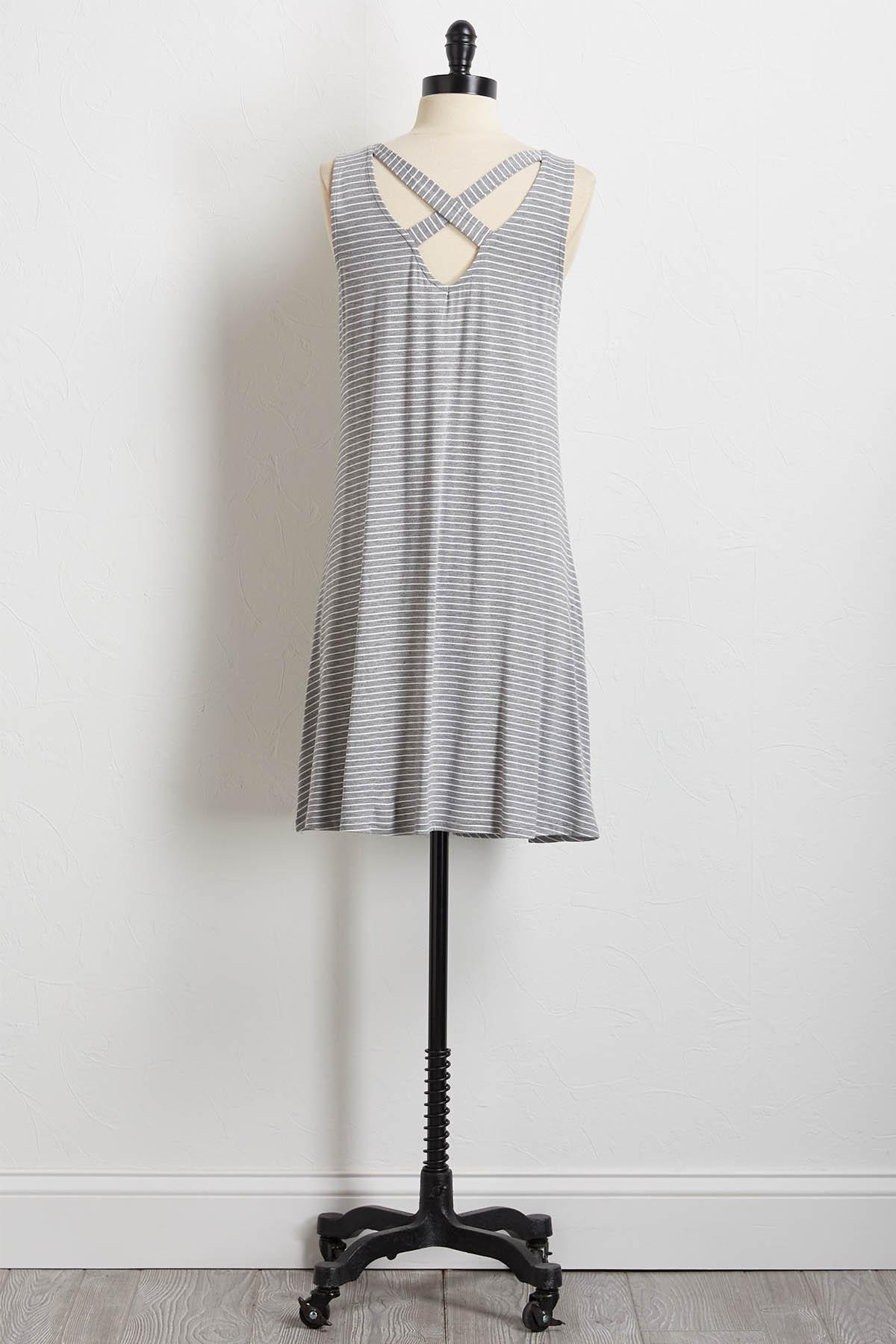 Stripe Cross Back Shift Dress