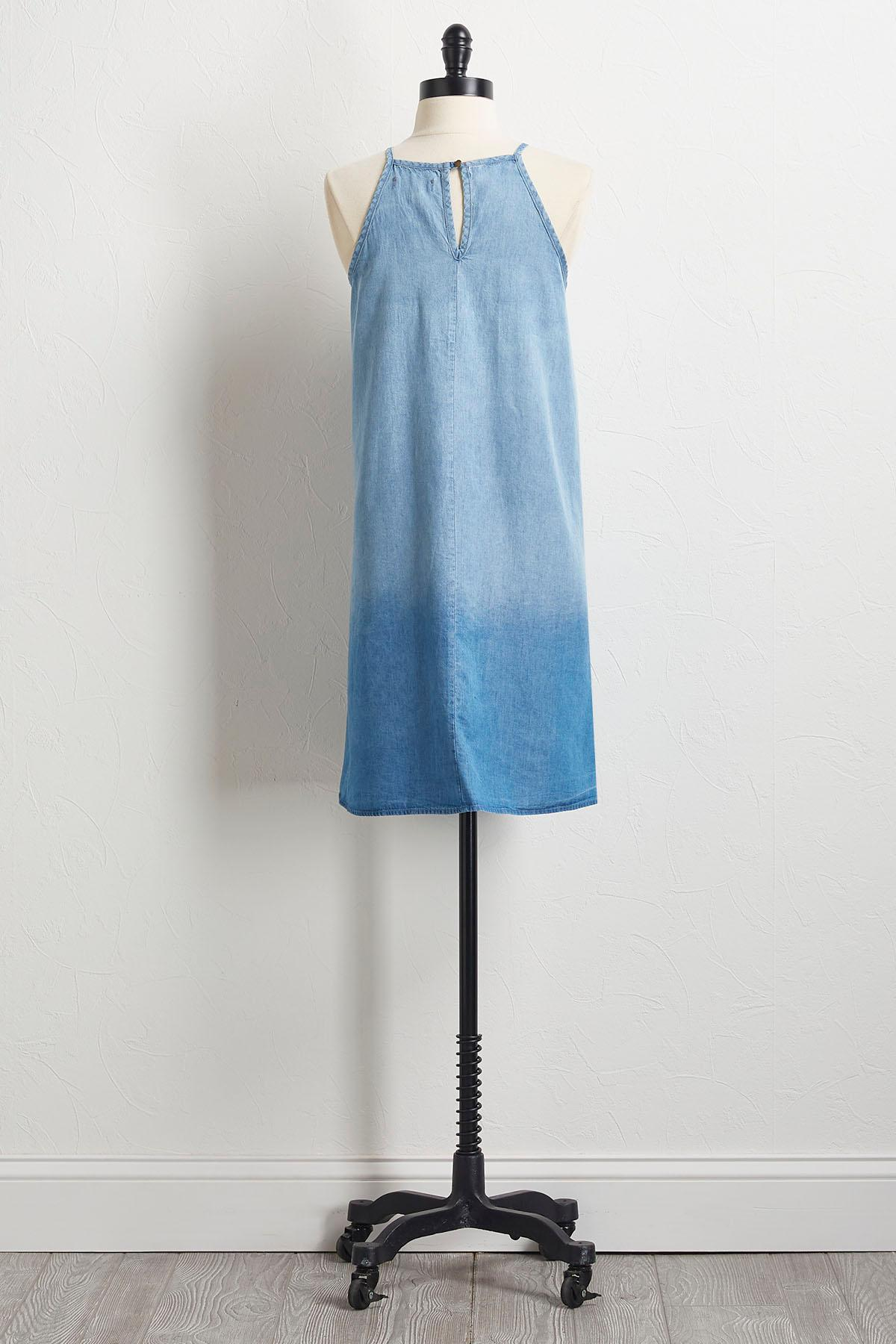 Denim Embroidered Shift Dress