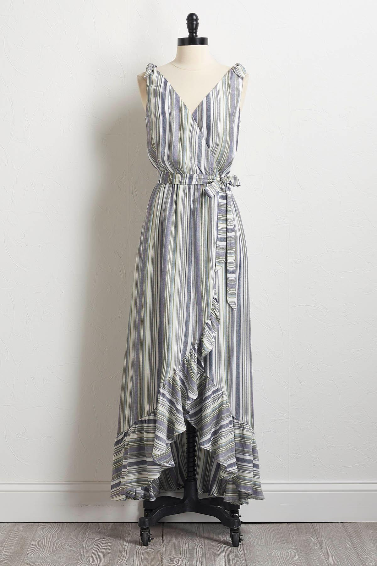 Ruffled Tie Shoulder Maxi Dress
