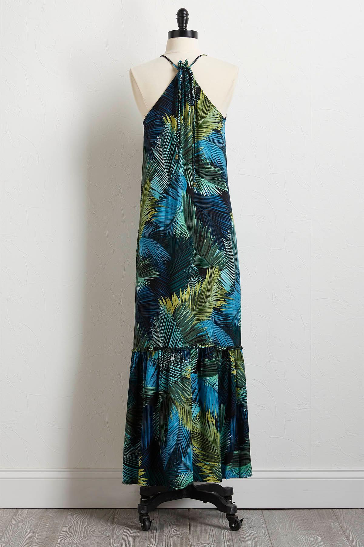 Tasseled Palm Maxi Dress