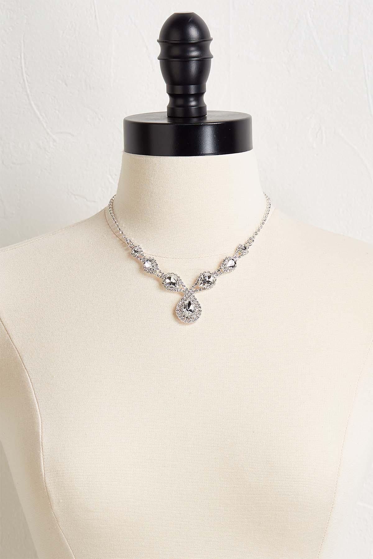Tear Shaped Rhinestone Necklace Set