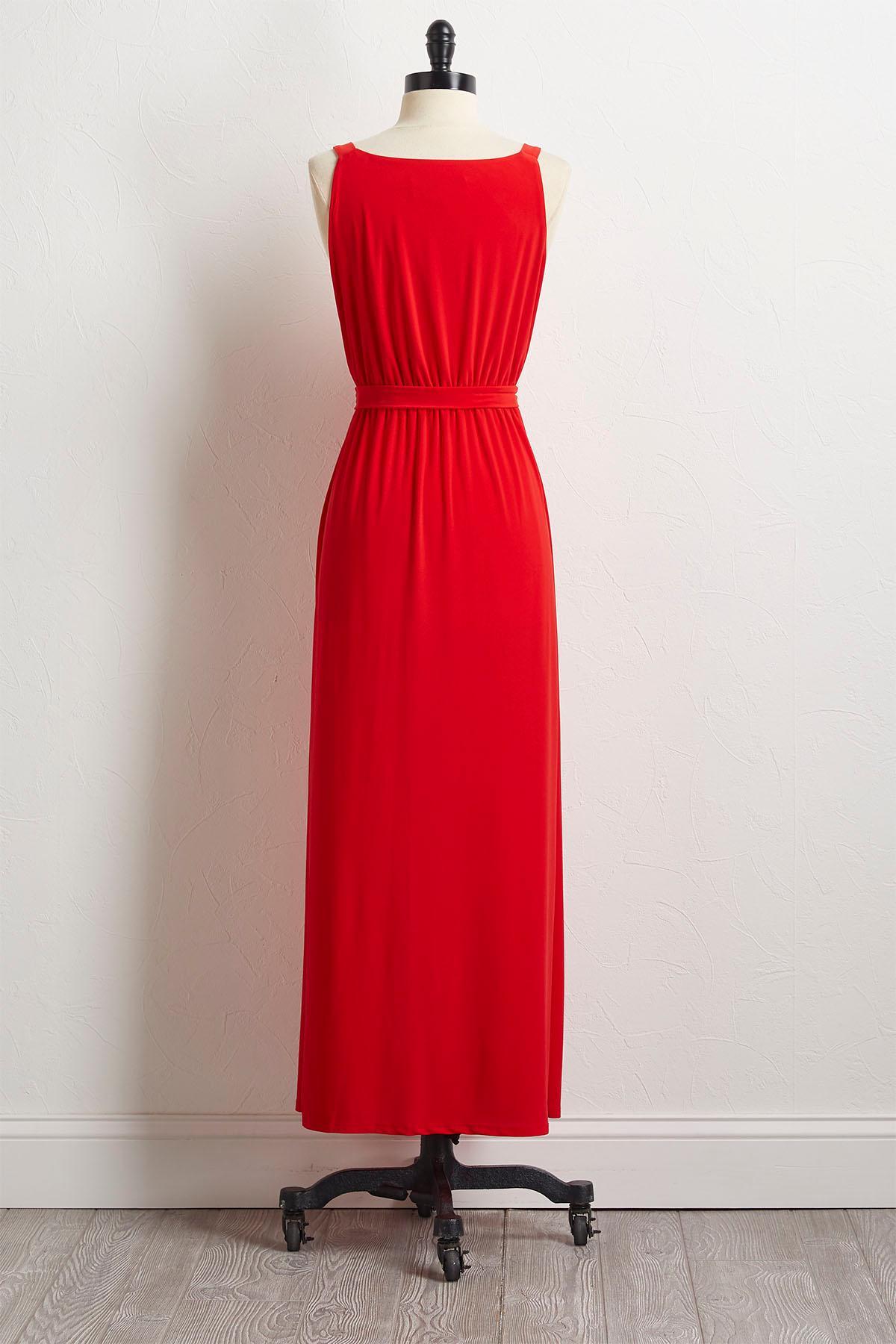 Ruffled Tie Waist Maxi Dress
