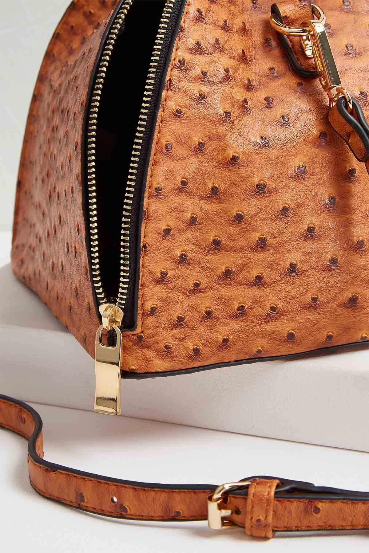 Faux Ostrich Fortune Cookie Bag