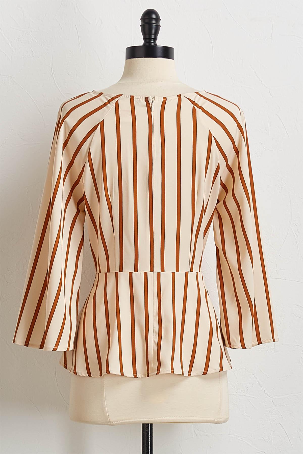 Natural Stripe Tie Front Top