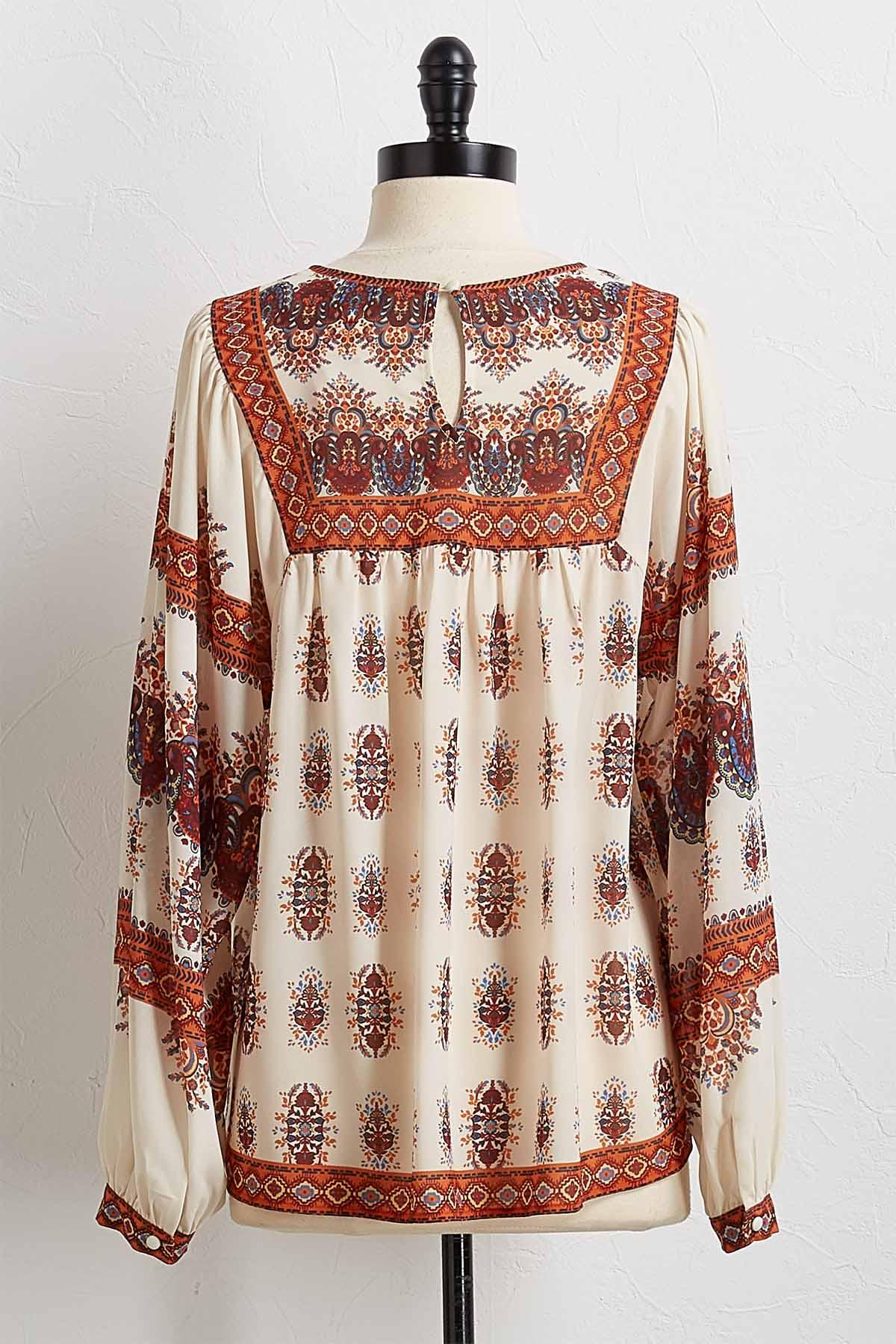 Medallion Border Print Peasant Top